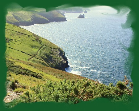 The coast path is a short walk from Lower Pennycrocker.